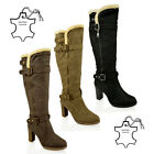 WOMENS LADIES HIGH BLOCK HEEL KNEE BIKER RIDING FUR LEATHER INSOLES BOOTS SHOES