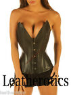 Black Leather corset DOUBLE STEEL BONED pointed lacing top clevage enhancer 8200