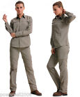 Woman khaki Quick Dry Outdoor Hiking Bush Walking UV50+Zip Off Shirt+Pants Set