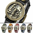 1pc Bronze Scorpion Open-Closed Cover Leather Retro Quartz Analog Watch Unisex