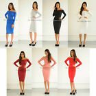 New womens ladies sexy off shoulder long sleeve midi towie celeb bodycon dress