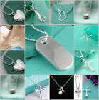 wholesale Fashion Solid Silver Necklace Lady 925Silver Pendant + Chain 18K Gold
