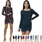 Stretch Bodycon Ruched Jersey Dress Sexy Long Sleeve Tunic  UK 6-18 US 4-16 941