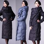Women's Over Long Down Coat Snow Lace Up Slim Jacket Warm Parka Winter Outerwear