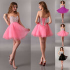 Strapless Rhinestone Beaded Women's Dresses Short Bridesmaid Formal Dress Gown