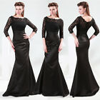 Hot Black Lace Satin Formal Evening Party Bridesmaid Dress Size 6 8 10 12 14 16