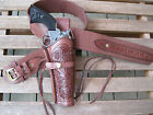 Gun Belt Combo - Tooled Holster - Brown - Genuine Leather - Specify Size