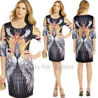 Womens Wing Animal Print Scoop Neck Casual Party Tunic Shift Short Mini Dress
