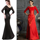 Black Mermaid Lace Cocktail Formal Prom Bridesmaid Gown Party Evening Long Dress