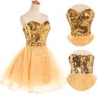 Sequins Mini Cocktail Party Ball Gown Evening Prom Dress Size 6 8 10 12 14 16 18