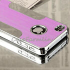 NEW FITS IPHONE 4 4S BRUSHED ALUMINIUM CHROME HARD CASE COVER + SCREEN PROTECTOR