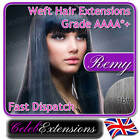 ♚ REMY Indian DELUXE FULL HEAD Human REMI Hair Extensions WEFT #1b Natural Black