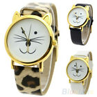 NEW LOVELY CUTE SMILE CAT FACE WOMEN DIAL GOLD RIM BEARD FAUX LEATHER WATCH B73K