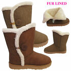 LADIES GIRL BUTTON FLAT FUR LINE SNUGG WOMEN BIKER WINTER ANKLE HARD SOLE BOOTS