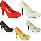 WOMENS LADIES HIGH STILETTO HEEL GLITTER PARTY WEDDING COURT SHOES SIZE 3-8