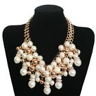New Beauty Big Pearl Beads Cluster Layered Bib Statement Chunky Necklace XL1179