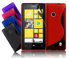 NEW S LINE WAVE GEL CASE COVER FOR NOKIA LUMIA 520 & FREE SCREEN PROTECTOR