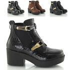 LADIES WOMENS CHUNKY HEEL ELASTIC GUSSET VINTAGE GOTH CHELSEA ANKLE BOOTS SIZE