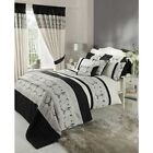 Black Beige & Cream Floral Embroidered Adult Duvet Cover Bedding And Acessories