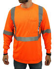 Class 2 Max-dry Moisture Wicking Mesh Long Sleeve Safety T-shirt, Neon Orange