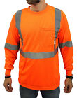 Class 2 Max-dry Moisture Wicking Mesh Long Sleeve Safety T-shirt, Neon Orange  image