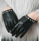 Genuine Lamb Leather Punk Rocker Metal Studded Dance Scoop Party Wrist Glove
