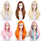 "24"" New Long Straight Brown / Blonde / Pink Lace Front Hair Wig Heat Resistant"
