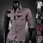 JS Designed Mens Dress Shirts Tops Cross Angle Stylish S M L XL XXL~US Seller