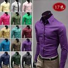 TOP Mens Luxury Casual Slim Fit Stylish Solid Color Dress Shirts 17Colors Style