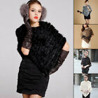 Women's Real Rabbit Fur Wrap Shawl Vest Cape Poncho Scarves Warmer Outwear Gilet