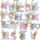 Boofle Resin Letters Keyring Key Rings Initial Alphabet Letter Pink Blue Pattern