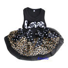 Valentine's Day Black Brown Leopard Love Party Dress Small Pet Dog Clothes XS-L