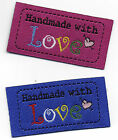 Woven 'Handmade With Love' Garment Labels 25x50mm, Pack of 10 UK Manufactured