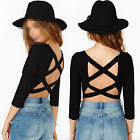 Fashion Womens Sexy Scoop Neck Backless Tops Hlaf Sleeve Crop Top T Shirt Black