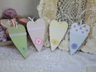 Painted Wooden Hearts Colour Choices - Blue Green Pink Yellow