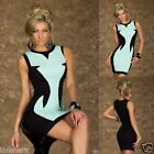 462 COCKTAIL SLEEVELESS CONTRAST BLACK/TURQUOISE CLOSE-FITTING BODYCON DRESS