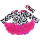 Baby Black Damask Hot Pink Tutu Romper Jumpsuit Bodysuit Pettiskirt Party Dress