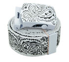 "Canvas Military New White ""Bandana Pattern"" Web Belt & Buckle 48"",54"",60 inches"