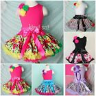 Girls Pink Blue Green Flower Lavender Leopard Pettiskirt Tank Top Party Dress