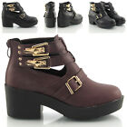 WOMENS LADIES CUT OUT VINTAGE GOLD BUCKLE GOTH LOW HEEL CHELSEA ANKLE BOOTS SIZE
