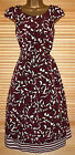 NEW 40'S 50'S AUDREY HEPBURN BURGUNDY FLORAL VINTAGE TEA DRESS - SIZES 8 - 20