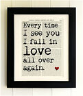 ART PRINT ON OLD ANTIQUE BOOK PAGE *FRAMED* Love quote. Fab Valentine's Day Gift