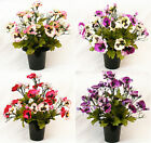 Artificial Flowers Pansy Gypsophelia Cemetery Pot Memorial Cemetary Pansies