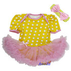 Baby Easter Yellow Polka Dots Light Pink Tutu Bodysuit Rompers Party Dress 0-18M