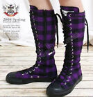 20 Hole Punk Rock Knee Hi Laceup Sneaker Flat Boot Black & Purple Checker Plaid