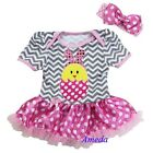 Baby Easter Bunny Chick Gray Chevron Pink Polka Dots Bodysuit Tutu Party Dress