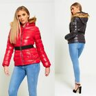 LADIES WOMENS QUILTED ZIP PADDED COLLAR BELTED WARM WINTER COAT JACKET SIZE10-18