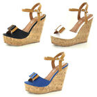 LADIES SPOT ON CORK WEDGE HEEL BOW TRIM ANKLE STRAP SUMMER SANDALS F10131