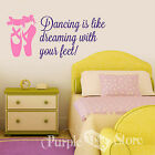 Ballet Ballerina Shoes Dance Vinyl Decal Sticker Quote Dancing is like Dreaming