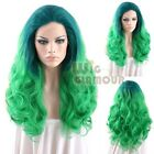 "Long Curly Wavy 18""-28"" Blue Green Lace Front Wig Heat Resistant"